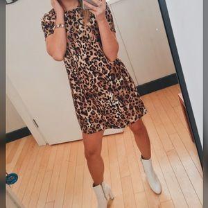 Zara Cheetah Print T-Shirt Dress